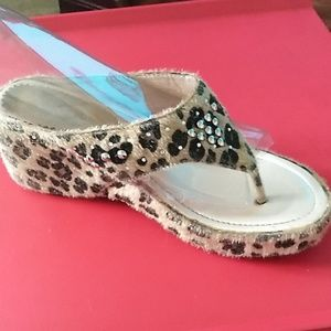 Shoes - Leapord fur like sandals with studs SZ 8.5